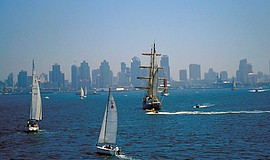 Tallships sailing on the San Diego Bay.