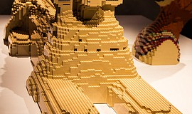 Promotional photo of a Sphinx made of LEGO bricks. Part of The Art of the Brick.