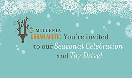 Promotional graphic for Millenia's Urban Arctic Winter Wonderland.