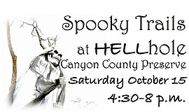 Promotional graphic for Spooky Trails at HELLhole Canyon County Preserve.