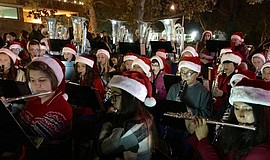 Student musicians perform at the annual Fallbrook Tree Lighting.