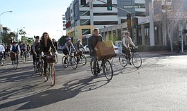 Participants ride at the annual San Diego Tweed Ride.