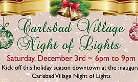 Promotional graphic for the Carlsbad Village Night of Lights.