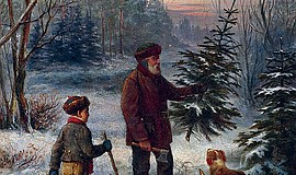 Father and son with their dog collecting a tree in the forest, painting by Fr...
