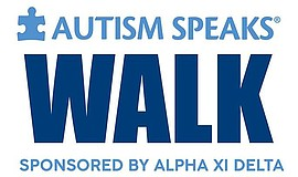 Promotional graphic for Autism Speaks Walk sponsored by Alpha XI Delta.