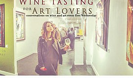 Promotional flyer for Wine Tasting For Art Lovers.