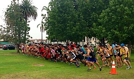 Runners take their place at the annual Balboa 4 Mile Cross Country Run.