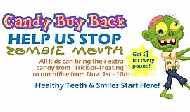 Promotional flier for the Candy Buy Back event.