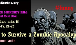 Promotional graphic for 10 Ways To Survive A Zombie Apopcalypse.
