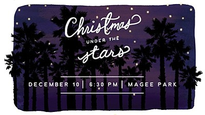 Promotional graphic for Christmas Under the Stars. Courte...