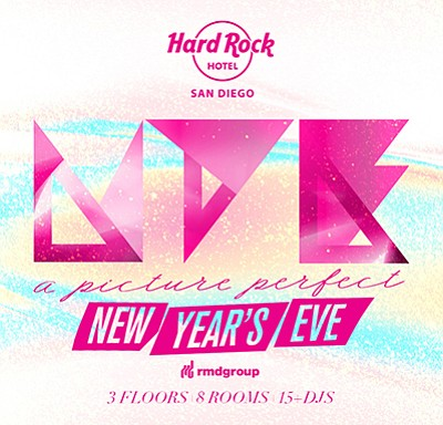 Promotional graphic for the New Year's celebration. Courtesy of Hard Rock Hotel San Diego.