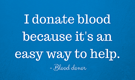 "Promotional graphic for donating blood that reads, ""I donate bloo..."