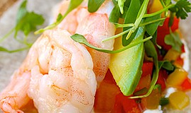 "Chef Nicholas Boar's dish, ""Red Royal Shrimp 'Ceviche' with Ponzu Gelee and C..."