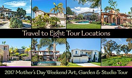 Promotional graphic for the Mother's Day Weekend Art, Garden & Studio Tour. C...