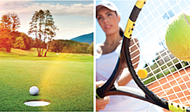 Promotional photo for the Ruby Schulman Memorial Golf and Tennis Tournament. ...