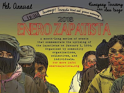 Promotional graphic courtesy of Enero Zapatista.