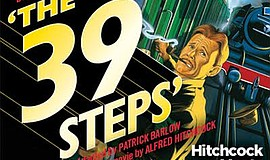 "A promotional poster for ""The 39 Steps"" at Coronado Playhouse."