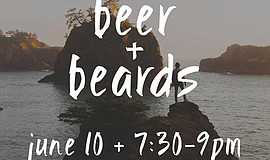 Promotional flier for Beer + Beards, a workshop by Made in California at 32 N...
