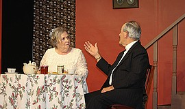 "Promotional photo of characters Abby and Dr. Harper from the play ""Arsenic & ..."
