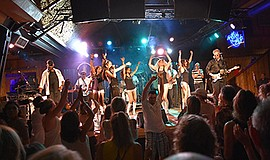 Promotional photo of Atomic Groove performing at the Belly Up Tavern.