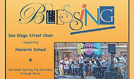 Promotional graphic for the BlesSING benefit concert featuring the San Diego ...