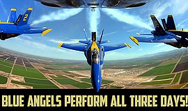 Promotional graphic for the U.S. Navy Blue Angels demonstration team at MCAS ...