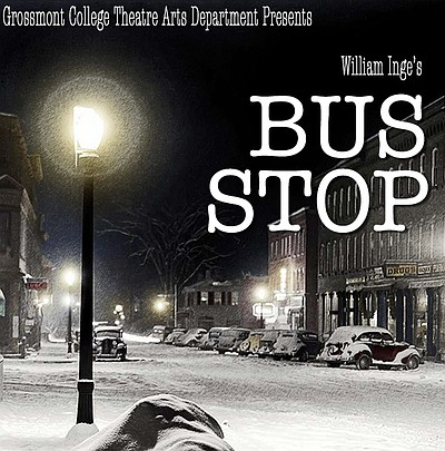 """Promotional graphic for the performance of """"Bus Stop."""" Co..."""