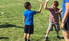 Children at an ASD soccer clinic. Courtesy of Family Wellness Center.