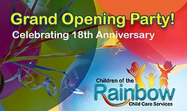 Promotional graphic for the Children of the Rainbow Grand Opening Party