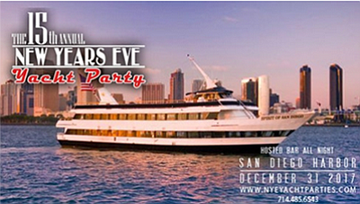 Promotional graphic for the New Year's Eve Yacht Party. C...