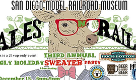 Promotional graphic for Ales 'n' Rails Ugly Christmas Sweater Party and Beer ...