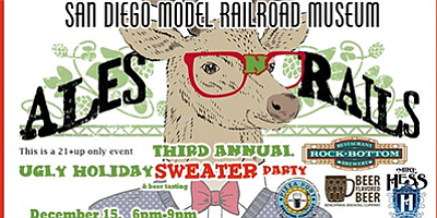 Promotional graphic for Ales 'n' Rails Ugly Christmas Swe...
