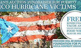 Promotional graphic for the fundraiser for the Puerto Rico hurricane victims....