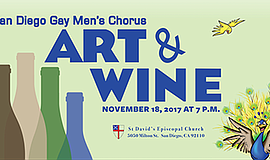 Promotional graphic for the Art And Wine Benefit. Courtesy of Gay Men's Chorus.