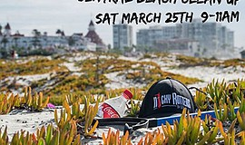 Promotional graphic for the Coronado (Central Beach) clean up hosted by Nicky...