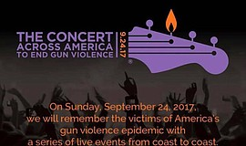 Promotional graphic for Concert Across America To End Gun Violence campaign.