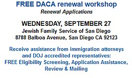 Promotional flyer for DACA workshop. Courtesy of Jewish Family Services San D...