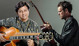 Promotional photo of Debashish Bhattacharya and Derek Gripper. Courtesy of Th...