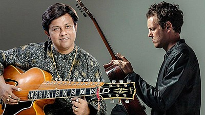 Promotional photo of Debashish Bhattacharya and Derek Gri...