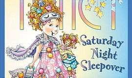 "Graphic cover of the book, ""Fancy Nancy: Saturday Night Sleepover."""