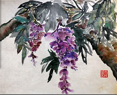 Promotional image of Wild Wisteria, painting done by Julia Roth.