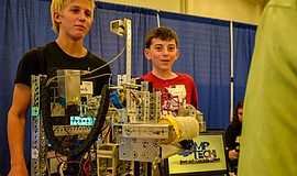 Promotional photo of participants in the High Tech Fair. Courtesy of Fleet Sc...