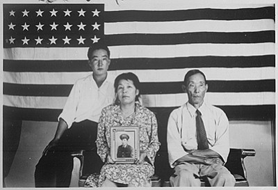 The Hirano family: George, Hisa, and Yasbei. Colorado River Relocation Center, Poston, Ariz., 1942-45. Dept. of the Interior - War Relocation Authority