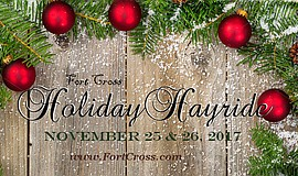 Promotional graphic for the Holiday Hayride. Courtesy of Fort Cross Old Timey...