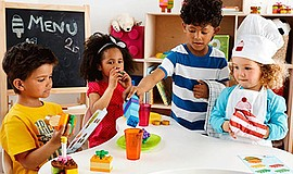 Promotional photo of children playing with LEGOs. Courtesy of LEGO Education.