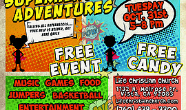 Promotional graphic for the Super Hero Adventure @ Life Christian Church
