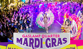 Promotional photo for the Gaslamp Quarter Mardi Gras event.