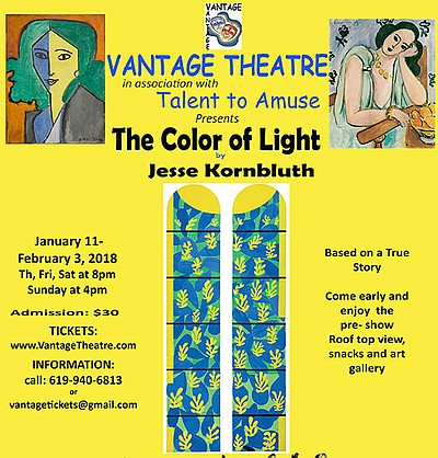 """A promotional flyer for """"The Color of Light,"""" courtesy of Vantage Theatre."""