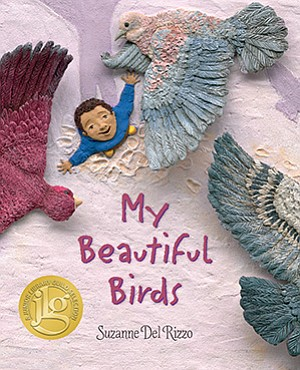 """Graphic cover of """"My Beautiful Birds"""" by Suzanne Del Rizzo - the KPBS One Book For Kids 2017 selection."""