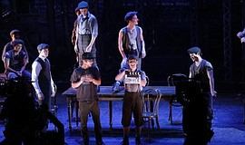 "A photo from the filming of ""Newsies,"" courtesy of Disney Theatrical Producti..."